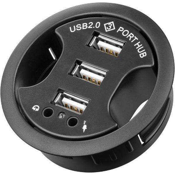 3-portin USB 2.0 hubi 2x3 5mm ääniporttia 60mm musta