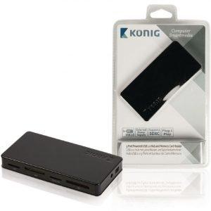 3-porttinen USB 2.0 -jakaja ja -muistikortinlukija