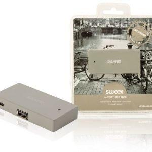 4-porttinen USB-jakaja Amsterdam harmaa
