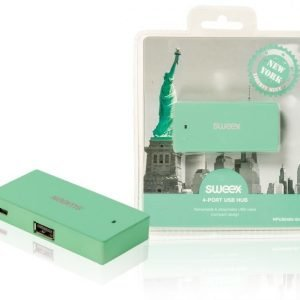 4-porttinen USB-jakaja New York mintunvihreä