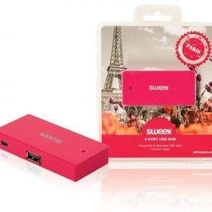 4-porttinen USB-jakaja Paris fuksia