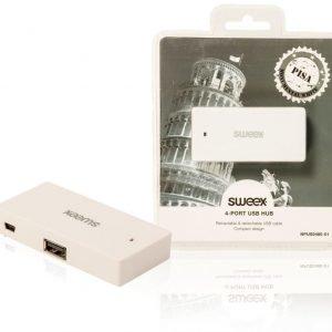 4-porttinen USB-jakaja Pisa valkoinen