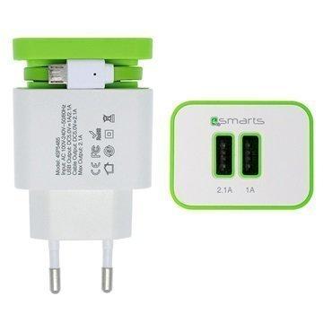 4smarts Wall Stand Yleismallinen Kaksois-USB-Laturi Vihreä / Valkoinen