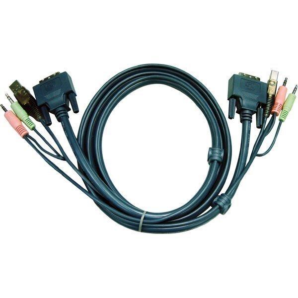 ATEN KVM-kaapeli DVI-D DL/2x3 5mm/USB A - DVI-D DL/2x3 5mm/USB B