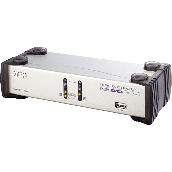 ATEN KVM-kytkin 1 konsoli ohjaa2 konetta USB kahdelle näytölle