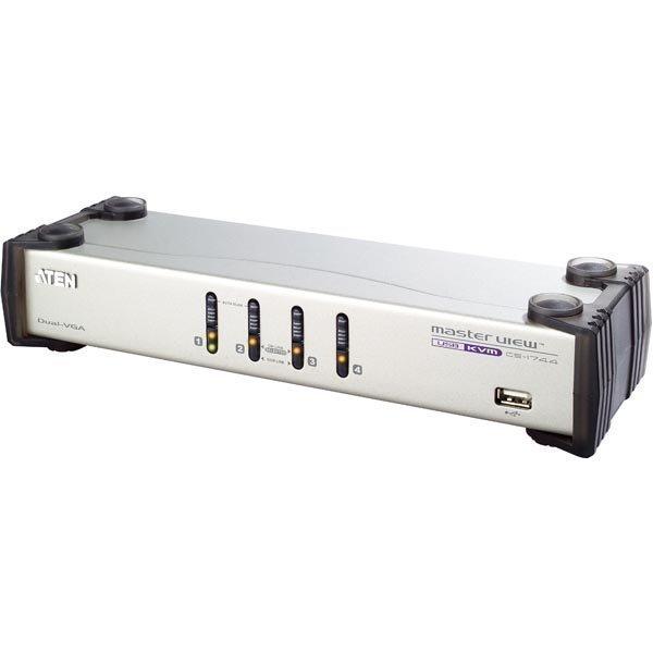 ATEN KVM-kytkin 1 ohjaa 4 tietokon OSD VGA USB Dual-View hopea