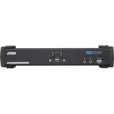 ATEN KVM-kytkin 1 pääte ohjaa 2 tietokonetta DVI DL/USB 2xUSB 7.1