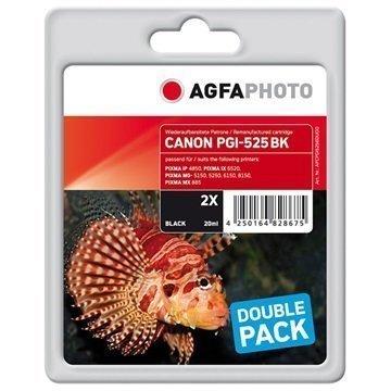 AgfaPhoto APCPGI525BDUOD Kaksoispakkaus Mustepatruuna Canon PGI-525BK Musta