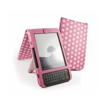 Amazon Kindle 3 Tuff-Luv Polka-Hot Faux Leather Case & Stand 6 Pink