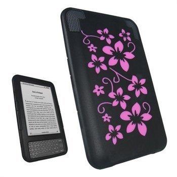 Amazon Kindle 3 Wi-Fi iGadgitz Silikonikuori Musta / Vaaleanpunainen
