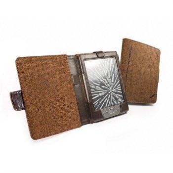 Amazon Kindle 4 Kobo Touch Tuff-Luv Book-Style Luonnonhamppukotelo Mokkaruskea