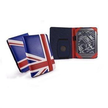 Amazon Kindle 4 Kobo Touch Tuff-Luv Embrace Nahkakotelo Iso-Britannian Lippu