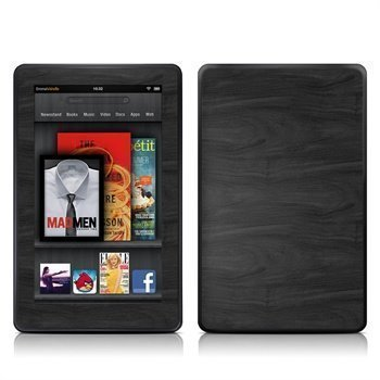 Amazon Kindle Fire Black Woodgrain Skin