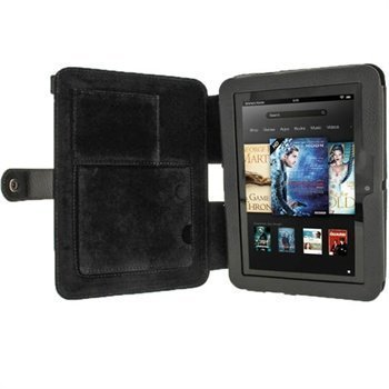 Amazon Kindle Fire HD 7 iGadgitz Guardian Tri-View Nahkakotelo Musta