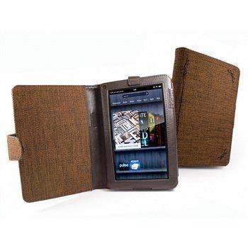 Amazon Kindle Fire Tuff-Luv Kirjamainen Luonnollinen Hamppukangaskotelo Mokkaruskea