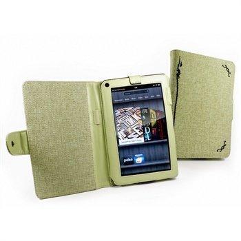 Amazon Kindle Fire Tuff-Luv Kirjamainen Luonnollinen Hamppukangaskotelo Pistaasinvihreä