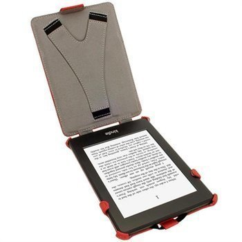Amazon Kindle Paperwhite 3G iGadgitz Heat Molded Nahkainen Läppäkotelo Punainen
