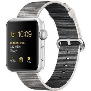 Apple Watch Series 2 38mm Silver Aluminium Pearl Woven Nylon Band Hopea