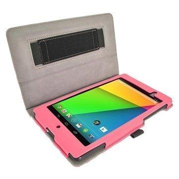 Asus Google Nexus 7 2 Igadgitz Polka Dots Nahkakotelo Vaaleanpunainen / Valkoinen