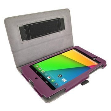 Asus Google Nexus 7 2 iGadgitz Polka Dots Leather Case Purple / White