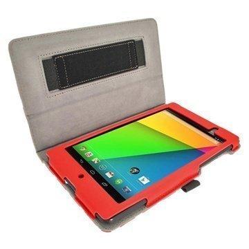 Asus Google Nexus 7 2 iGadgitz Polka Dots Leather Case Red / White