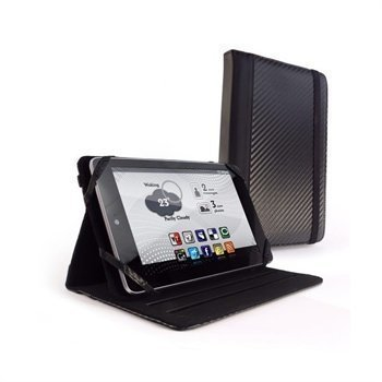Asus Google Nexus 7 Amazon Kindle Fire Tuff-Luv Slim-Stand Nahkakotelo Hiilenmusta
