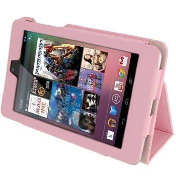 Asus Google Nexus 7 iGadgitz Ergo-Portfolio PU-Nahkakotelo Pinkki