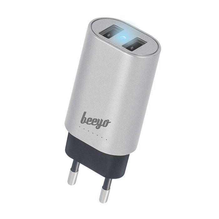Beeyo USB laturi 2 x USB + 1 5m microUSB kaapeli - 3.4A - Hopea