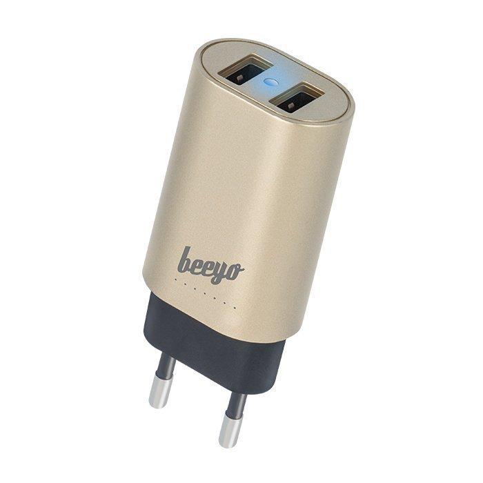 Beeyo USB laturi 2 x USB + 1 5m microUSB kaapeli - 3.4A - Kulta