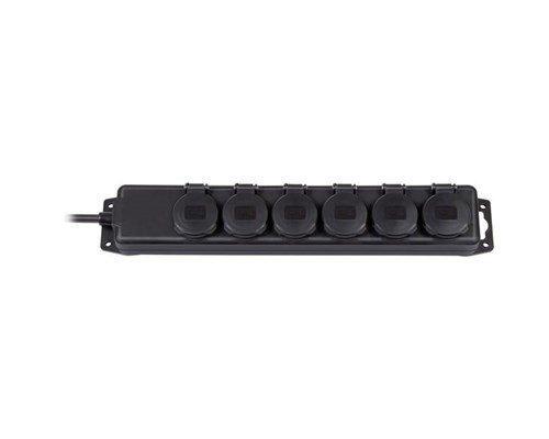 Brennenstuhl Extension Socket Ip44 6-way Black 2m H07rn-f 3g1