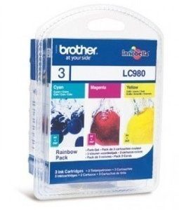 Brother DCP-145 C Inkjet Cartridge LC980RBWBPDR 3 Pack Cyan Magenta Yellow