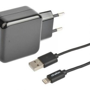 Cirafon Wall Charger 2xusb 2.4a + Cable Lightning 2m Musta