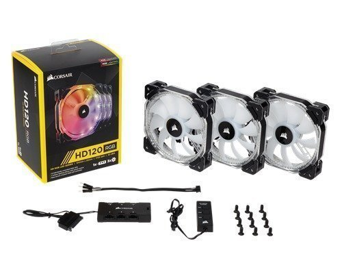 Corsair Hd120 Rgb Led 3-pack Static Pressure Fan With Contr. 120 Mm