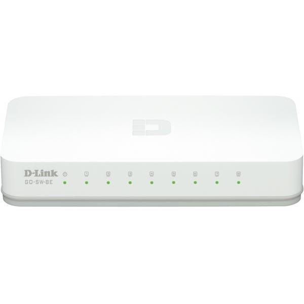 D-Link 8-Porttinen Fast Ethernet Easy Desktop Switch 8-porttia 10/100 Mbps valkoinen