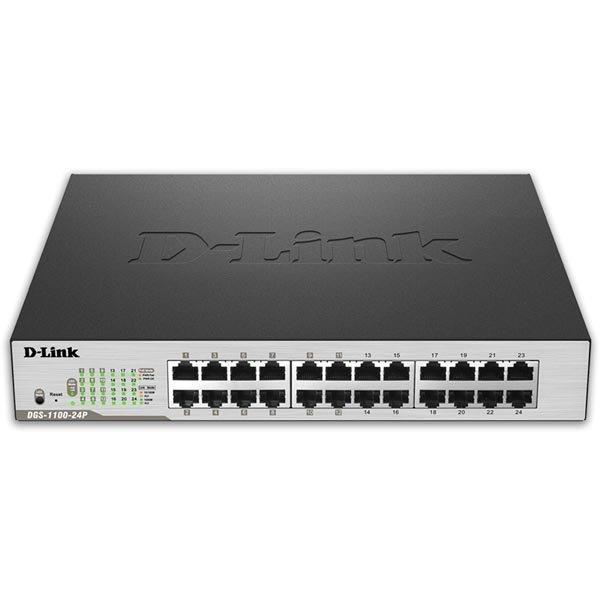 D-Link EasySmart switch 10/100/1000Mbps 24xRJ45 PoE metall svart