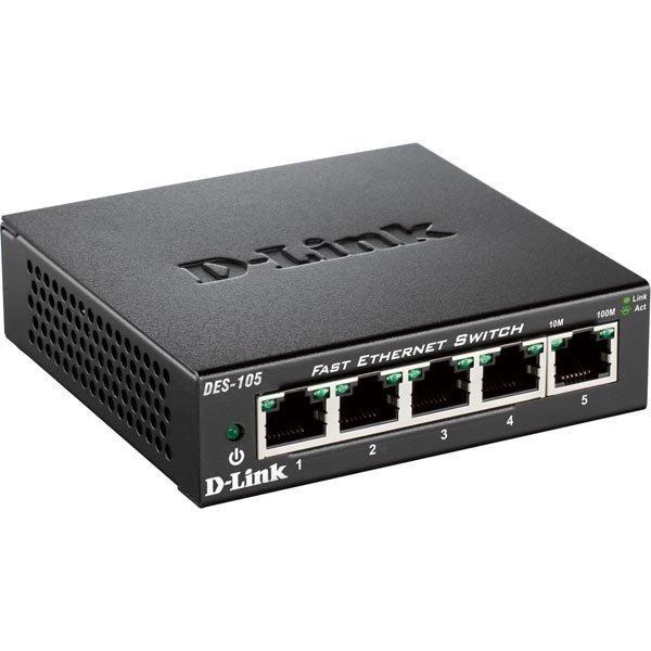 D-Link Gigabit Ethernet kytkin (DES-105) 5x10/100Mbps metallia