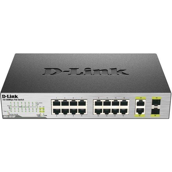 D-Link verkkokytkin 10/100Mbps 18xRJ45 2xSFP-yhdistelmäportti PoE