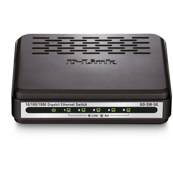 D-link 5-Port Gigabit Easy Desktop Switch kytkin 5x10/100/1000 musta