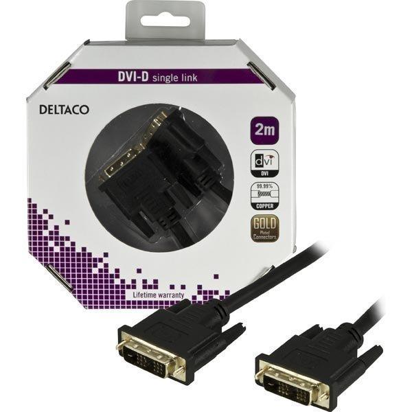 DELTACO DVI Single Link monitorikaapeli DVI-D ur > DVI-D ur 2m musta