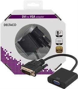 DELTACO DVI-sovitin DVI-D Dual-VGA 24+1-pin ur-15-pin na musta