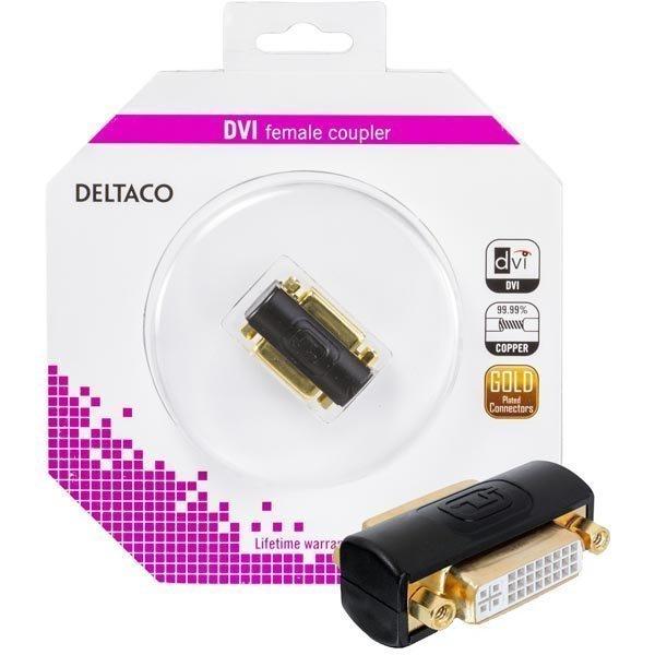 DELTACO DVI-sovitin Dual Link DVI-I na-na musta