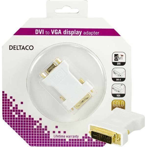 DELTACO DVI-sovitin analoginen DVI - analoginen VGA u-n valkoinen