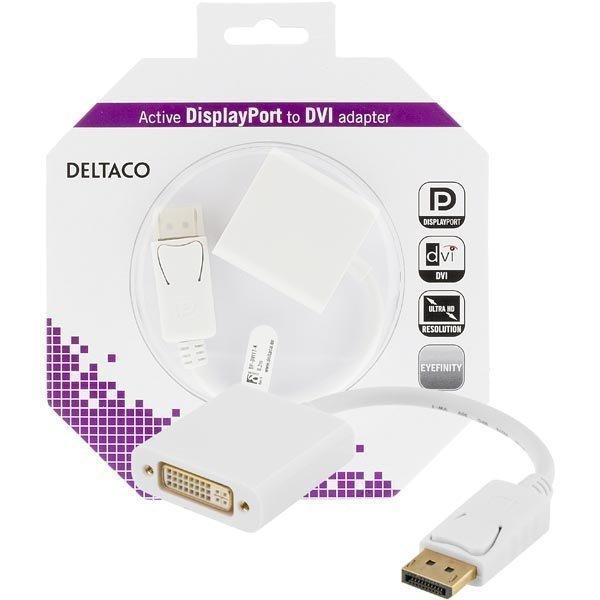 DELTACO DisplayPort - DVI-D Single Link sovitin 4K ur-na valkoinen