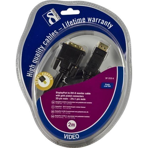 DELTACO DisplayPort - DVI-D monitorikaapeli 20-pin u-u 2m musta