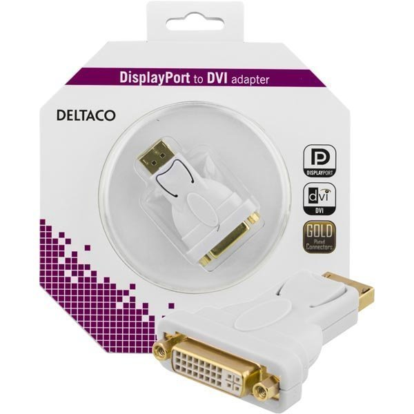 DELTACO DisplayPort - DVI-I Single Link sovitin ur-na valkoinen