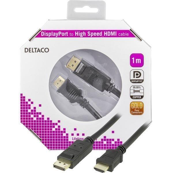 DELTACO DisplayPort - HDMI monitorikaapeli 20-pin ur- ur 1 m
