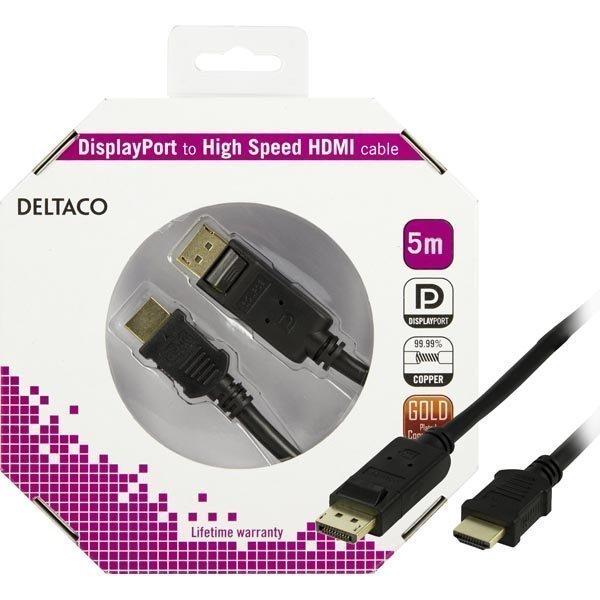DELTACO DisplayPort - HDMI monitorikaapeli 20-pin ur - ur 5m musta