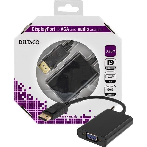 DELTACO DisplayPort - VGA-sovitin jossa ääni 0 25m musta