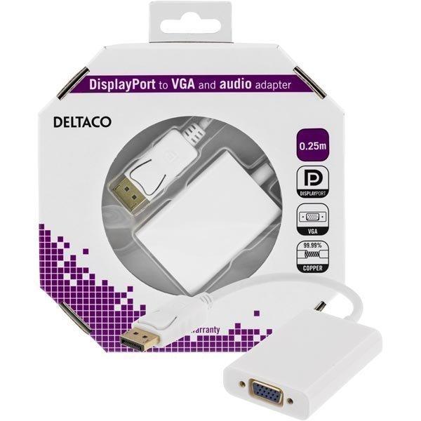 DELTACO DisplayPort - VGA-sovitin jossa ääni 0 25m valk