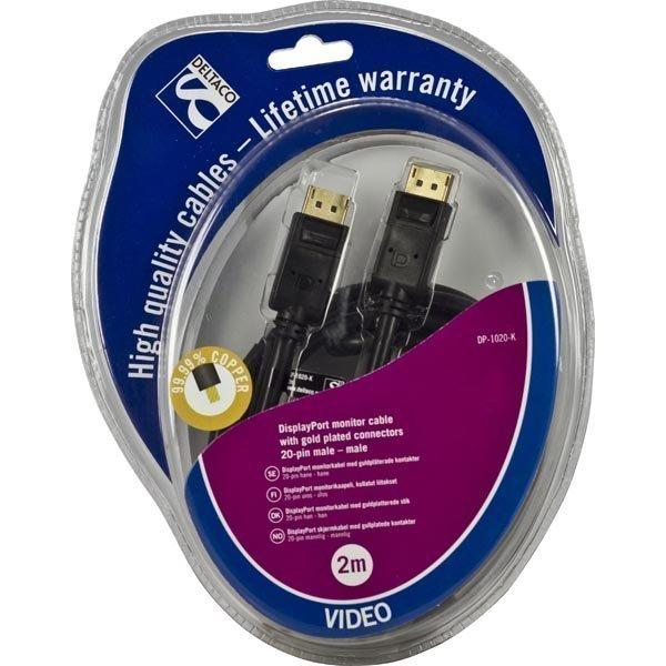 DELTACO DisplayPort monitorikaapeli 20-pin u - u 2m musta